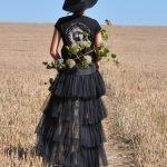 Womens black tribal sun T-Shirt