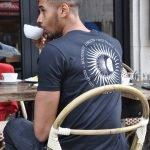 mens black tribal sun t-shirt