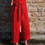 red Linen SamPan Trousers